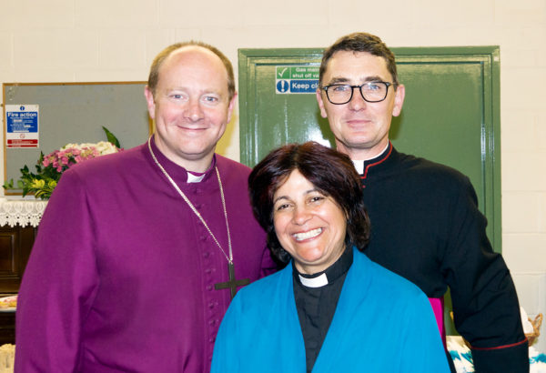 Revd Gita Bond with the Bishop of Edmonton and the Archdeacon of Hampstead.